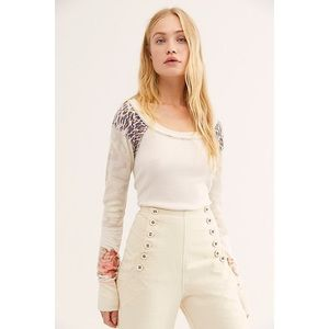 FREE PEOPLE   NWT Ivory Mixed Patterns Thermal Top